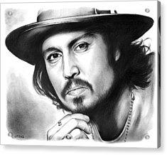 Johnny Depp Acrylic Print by Greg Joens