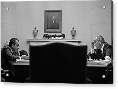 Johnson And Nixon At The White House Acrylic Print by War Is Hell Store