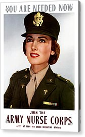 Join The Army Nurse Corps Acrylic Print by War Is Hell Store