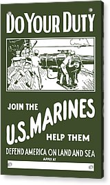 Join The Us Marines Acrylic Print by War Is Hell Store