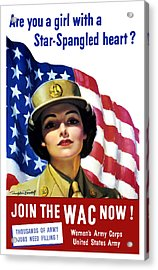 Join The Wac Now Acrylic Print by War Is Hell Store