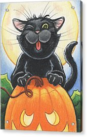Jolly Ollie Halloween Acrylic Print by Amy S Turner