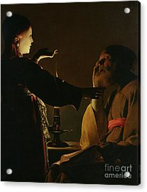 Jospeh And The Angel Acrylic Print by Georges de la Tour