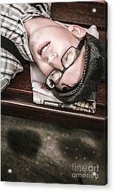 Journalist Asleep On The Job Acrylic Print by Jorgo Photography - Wall Art Gallery