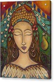 Joy And The Pear Tree Acrylic Print by Nancy Harris