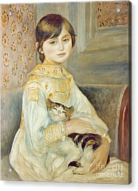 Julie Manet With Cat Acrylic Print by Pierre Auguste Renoir