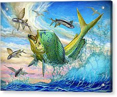 Jumping Mahi Mahi And Flyingfish Acrylic Print by Terry Fox