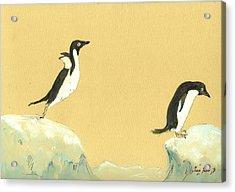 Jumping Penguins Acrylic Print by Juan  Bosco
