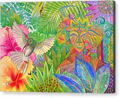 Jungle Spirits And Humming Bird Acrylic Print by Jennifer Baird
