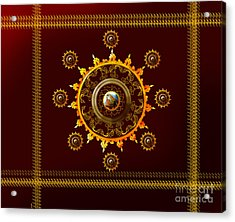 Kangra Painting On Lotus-sun Print Acrylic Print by Artist Nandika  Dutt