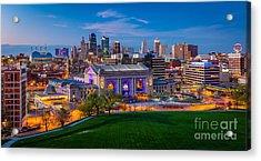 Kansas City Evening Panorama Acrylic Print by Inge Johnsson