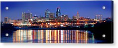 Kansas City Missouri Skyline At Night Acrylic Print by Jon Holiday