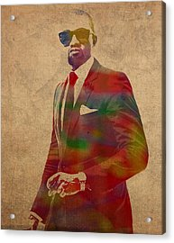 Kanye West Watercolor Portrait Acrylic Print by Design Turnpike