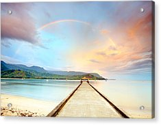 Kauai Hanalei Pier Acrylic Print by Monica and Michael Sweet