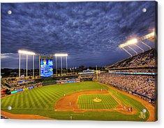 Kauffman Stadium Twilight Acrylic Print by Shawn Everhart