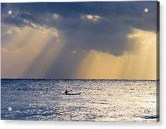 Kayak At Dawn Acrylic Print by Mike  Dawson