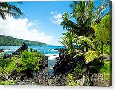 Keanae Framed By Palm Trees Maui Hawaii Acrylic Print by Sharon Mau