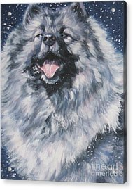 Keeshond In Snow Acrylic Print by Lee Ann Shepard