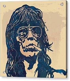 Keith Richards Pop Stylised Art Sketch Poster Acrylic Print by Kim Wang