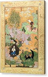 Khusrau Sees Shirin Bathing In A Stream Acrylic Print by Persian School