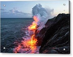 Kilauea Volcano Lava Flow Sea Entry 3- The Big Island Hawaii Acrylic Print by Brian Harig