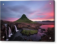 Kirkjufellsfoss Waterfalls Iceland Portrait Version Acrylic Print by Larry Marshall