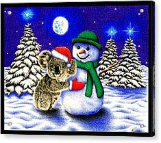 Koala With Snowman Acrylic Print by Remrov Vormer