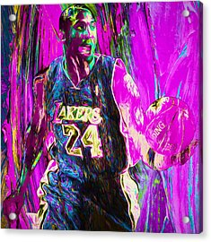 Kobe Bryant La Lakers Digital Painting 3 Acrylic Print by David Haskett