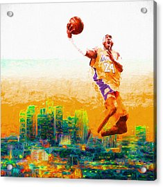 Kobe Bryant Los Angeles Lakers Digital Painting 1 Acrylic Print by David Haskett