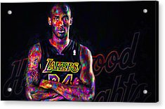 Kobe Bryant Los Angeles Lakers Digital Painting 2 Acrylic Print by David Haskett