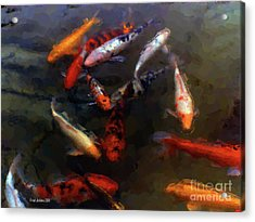 Koi Pond Watercolor Acrylic Print by Fred Jinkins