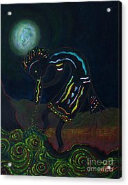 Kokopelli In Moonlight Acrylic Print by William Bezik
