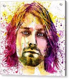 Kurt Cobain Watercolor Painting Acrylic Print by Marian Voicu