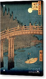 Kyoto Bridge By Moonlight Acrylic Print by Hiroshige