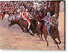 La Corsa Del Palio Acrylic Print by Guido Borelli