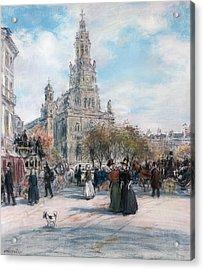 La Place De Trinite Acrylic Print by Jean Francois Raffaelli
