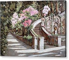La Scalinata E I Fiori Rosa Acrylic Print by Guido Borelli
