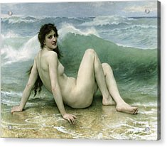 La Vague Acrylic Print by William Adolphe Bouguereau