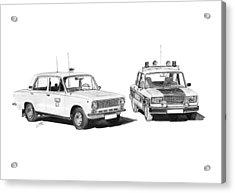 Lada Vaz 21011 Taxi 2107 Police Acrylic Print by Gabor Vida