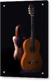 Lady And Guitar Acrylic Print by Dario Infini