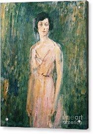Lady In A Pink Dress Acrylic Print by Ambrose McEvoy
