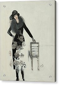 Lady In Black With Flowers Acrylic Print by Susan Adams