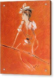 Lady In Orange Acrylic Print by Susan Adams