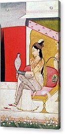 Lady With A Hawk Acrylic Print by Guler School