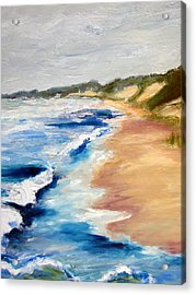 Lake Michigan Beach With Whitecaps Detail Acrylic Print by Michelle Calkins