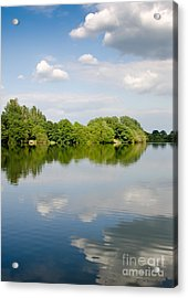 Lake Reflection Dinton Pastures Lakes And Nature Reserve Reading Berkshire Uk Acrylic Print by Andy Smy