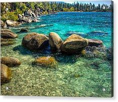 Lake Tahoe Beach And Granite Boulders Acrylic Print by Scott McGuire