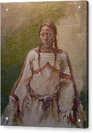 Lakota Woman Acrylic Print by Ellen Dreibelbis