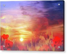 Landscape Of Dreaming Poppies Acrylic Print by Valerie Anne Kelly