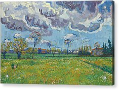 Landscape Under A Turbulent Sky Acrylic Print by Vincent van Gogh